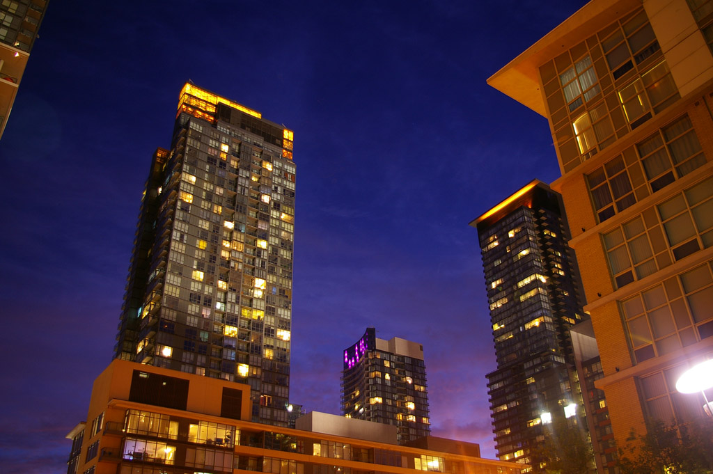 Warm By Night Towers from southeast