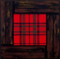 "Panelled MacGillivray, 1993. Size: 36.5"" x 36.5"". Medium: Faux wood: encaustic on multiple canvasses. Tartan: acrylic on canvas"
