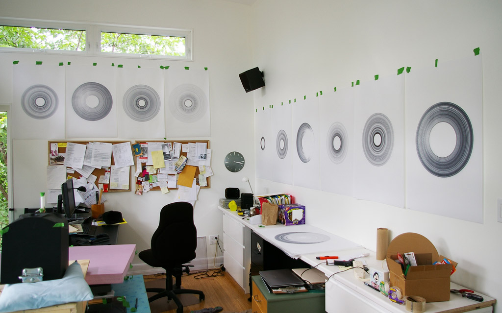 studio walls with Norwegian Wood drawings